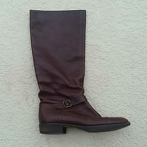 CREW Brown Leather Knee Riding Boots Size 8